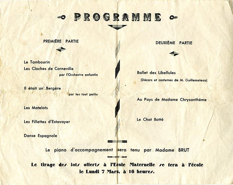 programme fête école maternelle 1938 la teste de buch