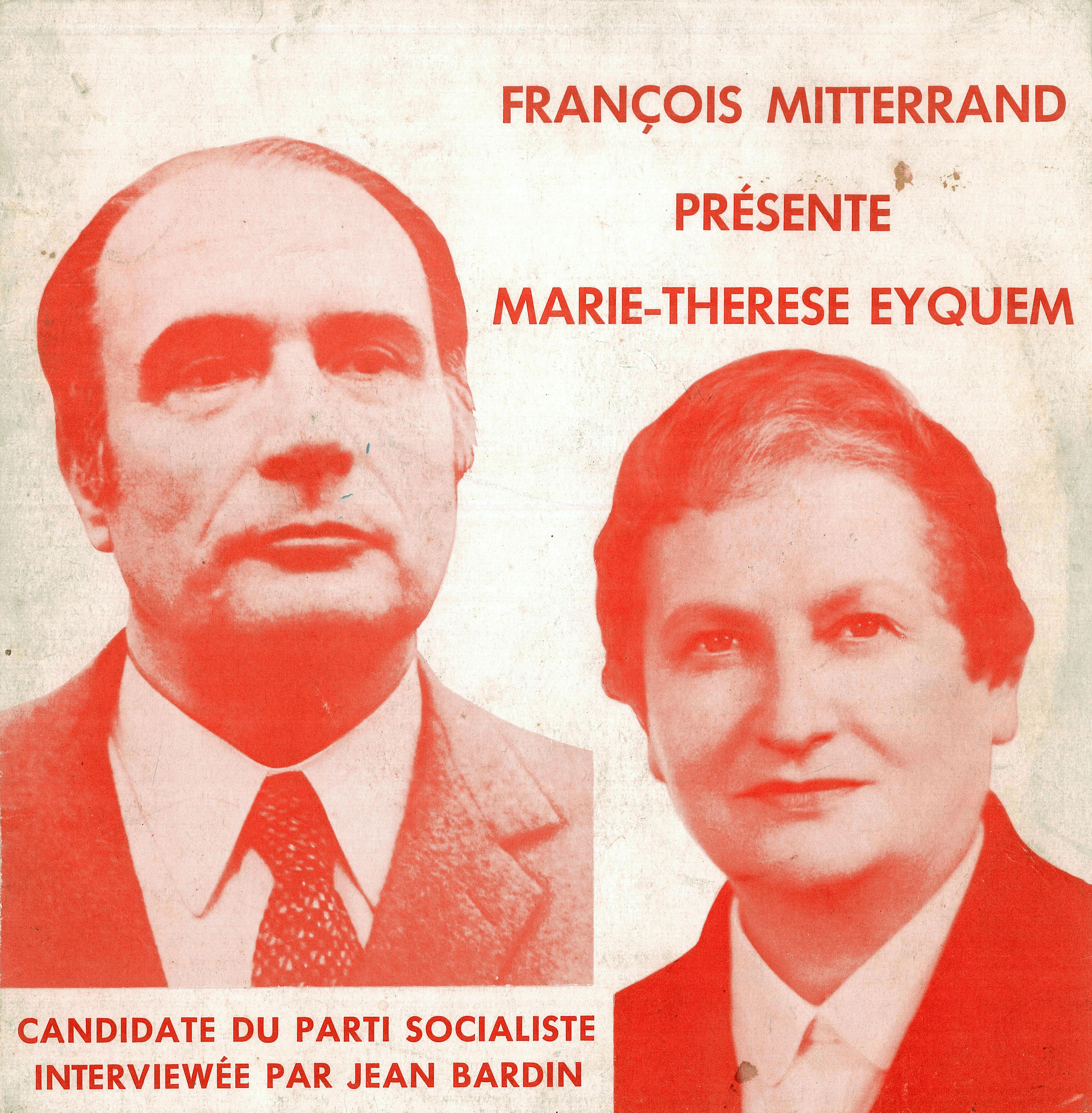 pochette 45 tours presentation candidate législatives Marie Thérèse Eyquem